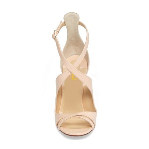 Nude 3 Inch Heels Cross-over Strap Open Toe Patent Leather Sandals
