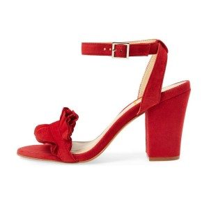 Women's Red Suede Ruffle 3 Inches Chunky Heel Ankle Strap Sandals