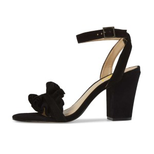 Black Suede Ruffle 3 Inches Chunky Heel Ankle Strap Sandals