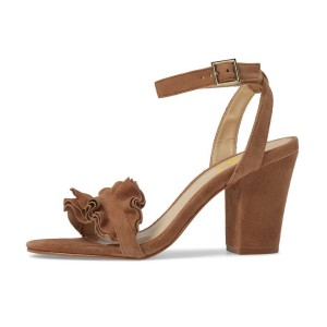 Women's Brown Suede Ruffle 3 Inches Chunky Heel Ankle Strap Sandals