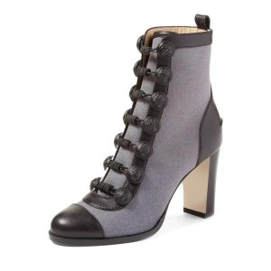 Grey Chunky Heel Boots Round Toe Buttoned Ankle Boots