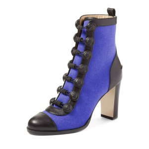 Royal Blue Chunky Heel Boots Round Toe Buttoned Ankle Boots