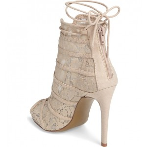 Nude Lace up Boots Peep Toe Lace Stiletto Ankle Booties for Wedding