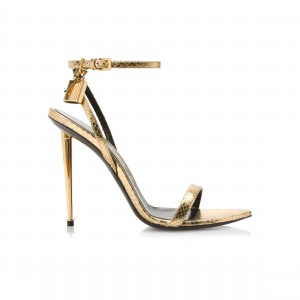 Custom Made Gold Ankle Strap Sandals