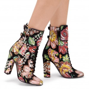 Floral and Studs Lace up boots Buckles Chunky Heels Ankle booties