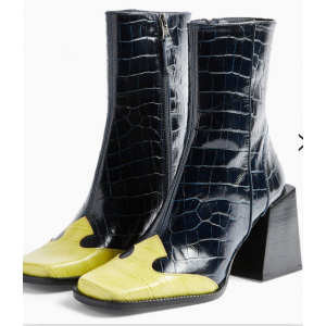 Custom Made Black and Yellow Block Heel Ankle Boots