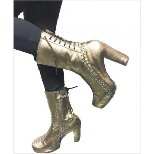 Custom Made Champagne Lace Up Chunky Heel Platform Boots