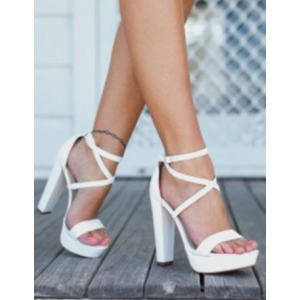 Custom Made White Cross Over Platform Chunky Heel Sandals