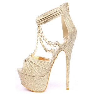 Women's Golden Peep Toe Stiletto Heels T-Strap Sandals