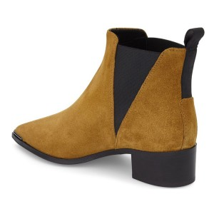 Women's Brown Suede Chelsea Boots Pointed Toe Chunky Heels Ankle Boots