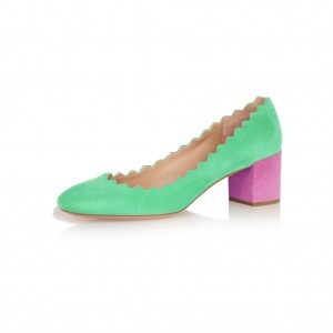 Green and Magenta Chunky Heels Suede Round Toe Pumps