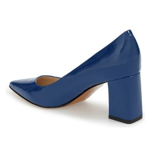 FSJ Blue Pointy Toe Block Heels Patent Leather Office Pumps