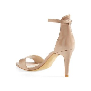 Nude Low Heels Ankle Strap Sandals Open Toe Stiletto Heel Sandals