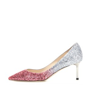 Pink and Silver Bridal Heels Sparkly Pointy Toe Glitter Pumps