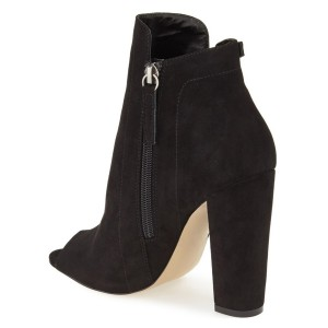 Leila Black Suede Ankle Boots
