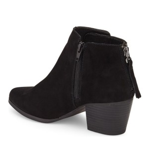 Black Chunky Heel Boots Suede Boots Round Toe Ankle Booties