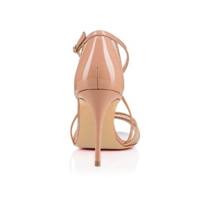 Nude Mesh Cross-Over Strappy Stiletto Heel Sandals