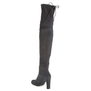 Dark Grey Chunky Heel Boots Suede Thigh-high Boots