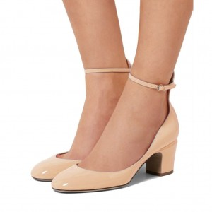 Nude Ankle Strap Heels Round Toe Block Heel Pumps for Ladies
