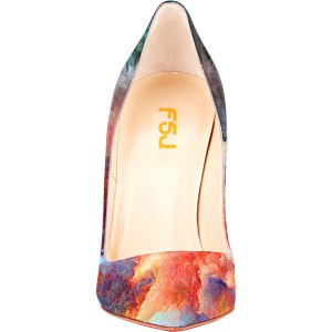 Women's Pointed Toe Clouds Printed Pencil Heel Pumps Floral Heels