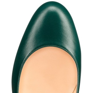 Dark Beryl Green Round Toe Stiletto Heel Pumps