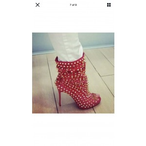 Custom Made Red Studs Stiletto Heel Ankle Boots