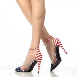 Women's Star and Stripes Ankle Strap Sandals Clear Stiletto Heel Pumps