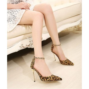 Leopard-print Dress Shoes Suede Pointy Toe Ankle Strap Stiletto Heels Pumps
