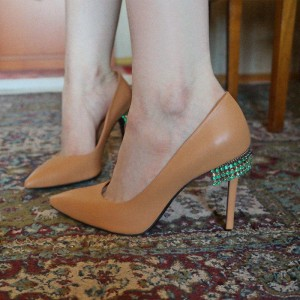 Apricot Pointy Toe Stiletto Heels Pumps