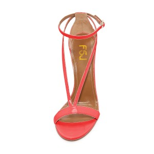 Women's Orange Stiletto Heel Ankle Strap Sandals