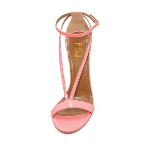 Women's Blush Stiletto Heel Ankle Strap Sandals