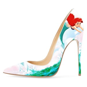 Ariel Mermaid Multi-Color Floral Heels Stiletto Heel Pumps