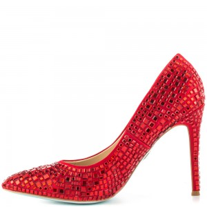 Ariel Red Rhinestone Heels Pointy Toe Pumps for Halloween