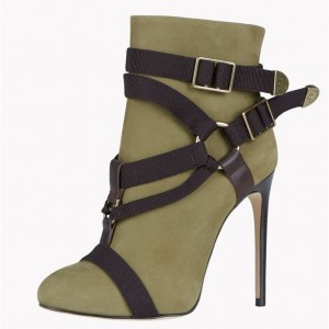 Army Green Stiletto Boots Almond toe Suede Vintage Ankle Booties