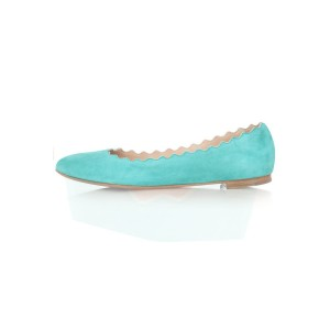 Women's Adorable Cyan Almond Toe Comfortable Flats