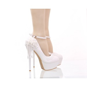 Women's White Floral Pearl Ankle Strap Stiletto Heel Wedding Shoes