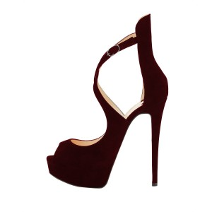 Burgundy Peep Toe Heels Cross-over Strap Suede Platform Sandals