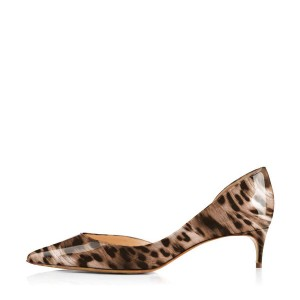 Dark Brown Leopard-print Kitten Heel Dorsay Pumps
