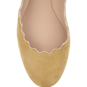 Mustard Suede School Shoes Round Toe Comfortable Flats