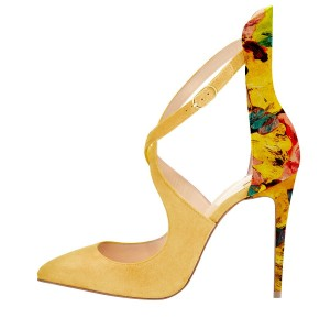 2017 Fall Yellow Stiletto Heels Floral Cross-over Strap Suede Pumps by FSJ
