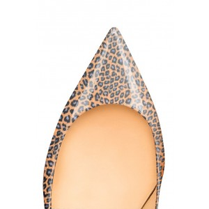 Women's Orange Crystal Kitten-heel Leopard Print Heels Pumps
