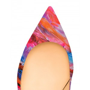 Colorful Abstract Art Kitten Heels Pointy Toe Pumps by FSJ