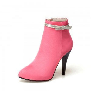 Baby Pink Bow Heeled Boots Suede Cute Stiletto Heel Ankle Booties