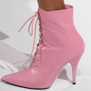 Baby Pink Lace up Boots Pointy Toe Stiletto Heel Ankle Booties