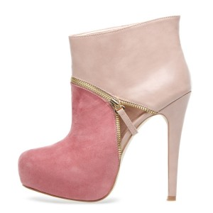 Baby Pink Stiletto Boots Platform High Heel Girly Ankle Boots with Zip