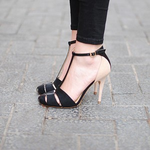 Back and Nude T Strap Sandals Round Toe Stiletto Heel Pumps