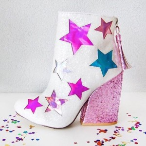 White and Pink Glitter Holographic Stars Chunky Heel Fashion Boots