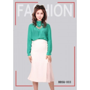 Women's Green Shirt Casual Summer White Skirt