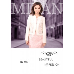 Women's Pink Dress and White Coat Business Suits
