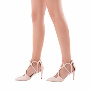 eeaf279008 ... Nude 3 inch Heels Twisted Straps Pointy Toe Stiletto Heels Shoes